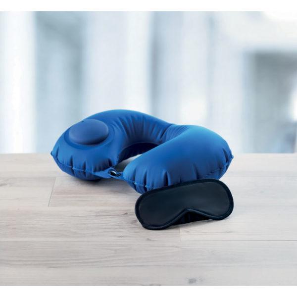 cuscino da viaggio gonfiabile blu