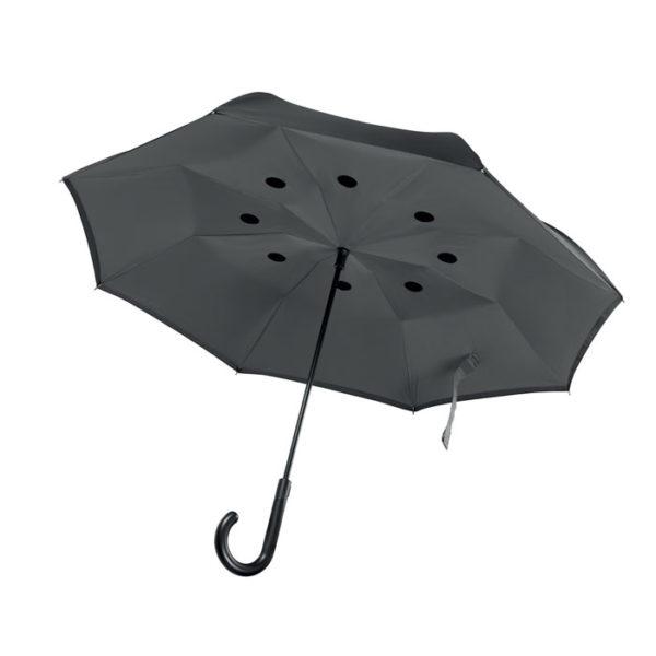ombrello inverso personalizzato nero aperto