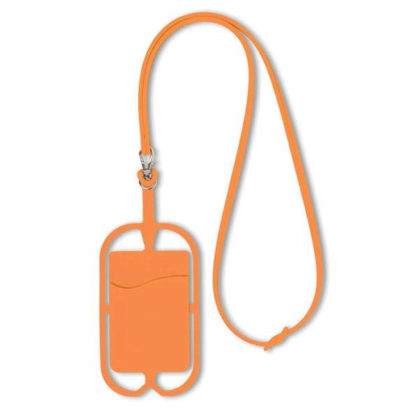 porta smartphone da collo con porta biglietti da visita arancione