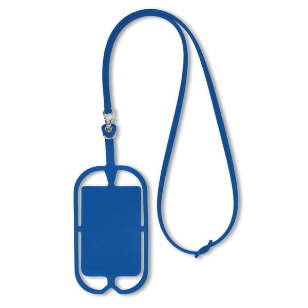 porta smartphone da collo con porta biglietti da visita blu