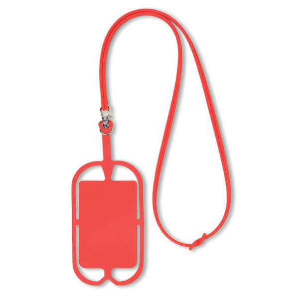porta smartphone da collo con porta biglietti da visita rosso