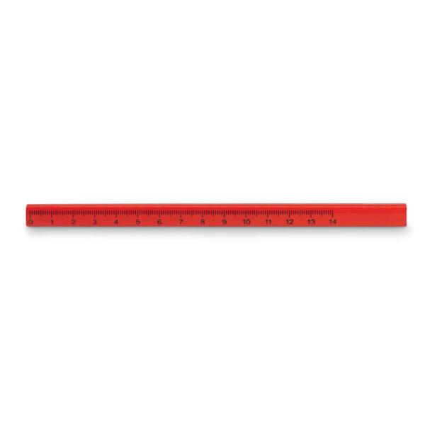 matita da falegname con righello rosso