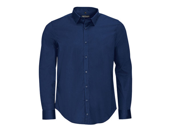 camicia uomo manica lunga blu scura