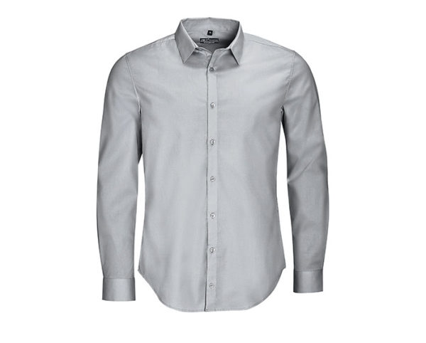camicia uomo manica lunga grigio perla