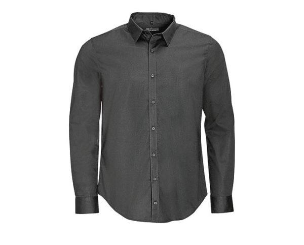 camicia uomo manica lunga grigio scuro