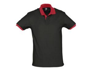 polo bicolore personalizzate nera rossa