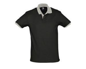 polo bicolore personalizzate nero grigia