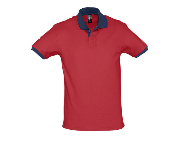 polo bicolore personalizzate rosso